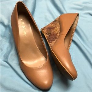Camel-colored Cork Wedge Shoes